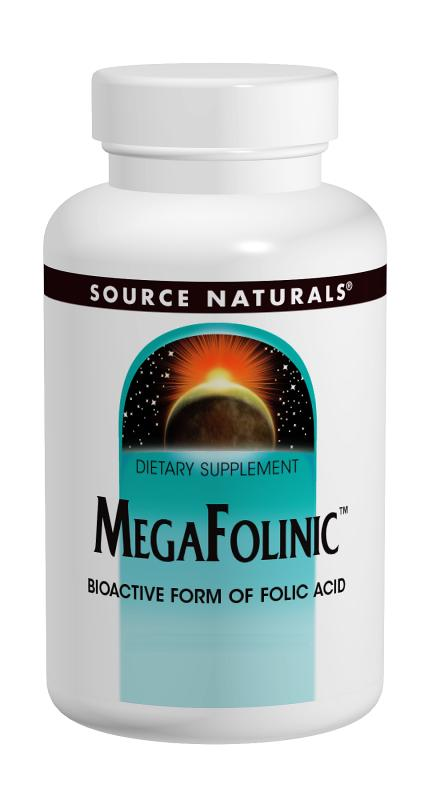 SOURCE NATURALS: Mega-Folinic Bio-Active Form of Folic Acid 60 Tabs - 800mcg