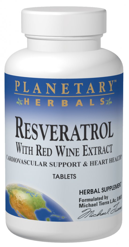 PLANETARY HERBALS: Red Wine Extract with Resveratrol 30 tabs