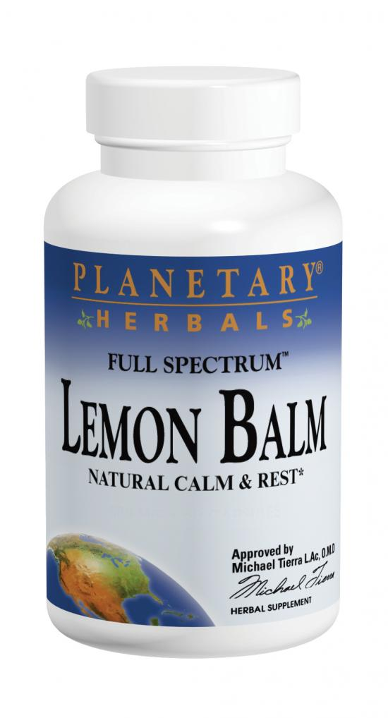 PLANETARY HERBALS: Lemon Balm Full Spectrum 500mg 120 caps