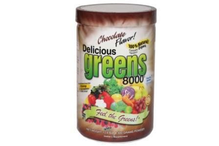 GREENS WORLD INC: Delicious Greens 8000 Chocolate Flavor 10.6 oz