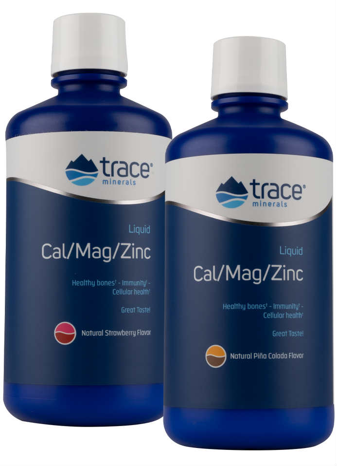 Trace Minerals Research: Liquid Calcium Magnesium Zinc Strawberry 2 oz.