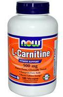 NOW: CARNITINE (L) 500mg 180 CAPS 180 caps