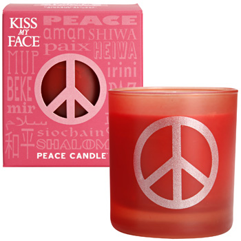 Kiss my face: Pomegranate acai peace soy candle 42 hour