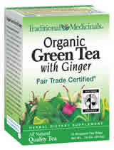 TRADITIONAL MEDICINALS TEAS: Organic Green Tea With Ginger 16 bags