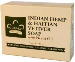 NUBIAN HERITAGE/SUNDIAL CREATIONS: Bar Soap Indian Hemp and Haitian Vetiver 5 oz