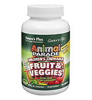 Animal Parade Fruit And Veggies Chewables, 180 ct Pineapple Flavor