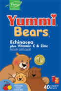 YUMMI BEARS (HERO NUTRITIONAL PRODUCTS): Yummi Bears Echinacea with Vitamin C and Zinc 40 bears