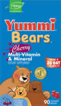 YUMMI BEARS (HERO NUTRITIONAL PRODUCTS): Yummi Bears Multi-Vitamin & Mineral Cherry 90 bears
