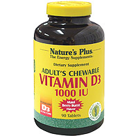 Adult's Vitamin D3 1000 IU Chewable, 90 Chewables