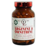Arginine 500mg and Ornithine 250mg, 100 caps