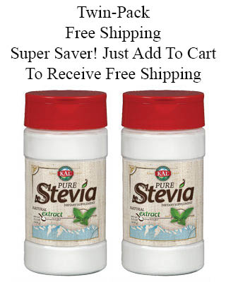 Kal: Pure Stevia Extract Powder (Free Shipping) Twinpack 3.5 + 3.5 oz