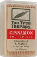 TEA TREE THERAPY INC: Tea Tree Therapy Toothpicks Cinnamon 100 ct