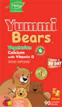 YUMMI BEARS (HERO NUTRITIONAL PRODUCTS): Yummi Bears Vegetarian Calcium 90 sour gummy bears