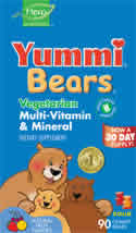 YUMMI BEARS (HERO NUTRITIONAL PRODUCTS): Yummi Bears Vegetarian Multi-Vitamin & Mineral Supplements 90 sour gummy bears